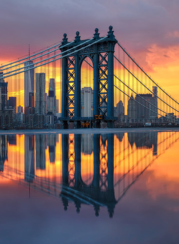 newyorkcity nyc lowermanhattan manhattanbridge oneworldtrade nycsunset sunset reflection puddlereflection nycicons nyclandmarks nycskyline nycbridges matthewpugliesephotography matthewpugliese