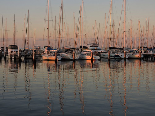sunset reflections waterfront australia victoria yachts geelong 2015518n