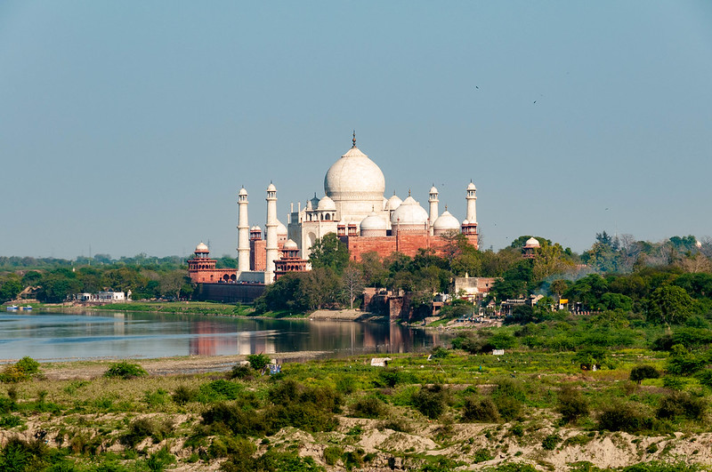 The Taj Mahal as seen from Agra Fort