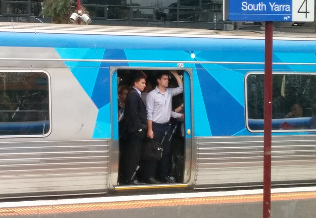 Crowded train, South Yarra