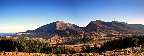 wild panorama mountains sunshine landscape evening scotland panoramic hills wilderness arran sannox northsannox