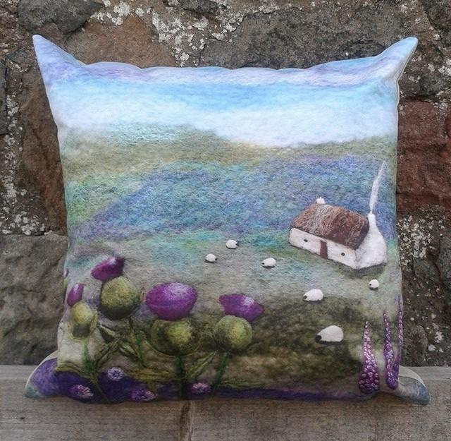Pink Thistle Bothy Printed Cushion
