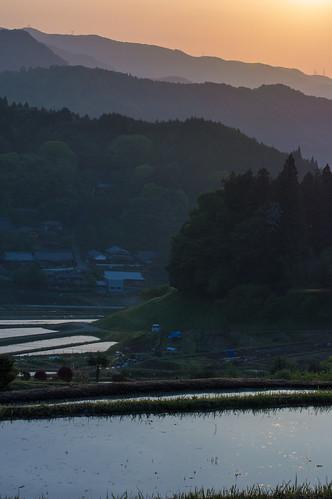 japan sunrise 大阪 日の出 棚田 能勢