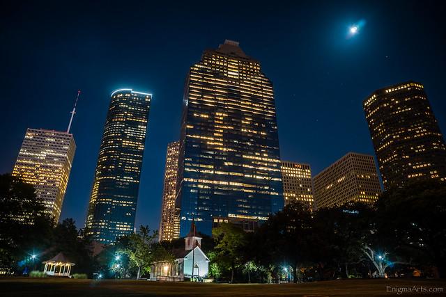 Downtown Houston Skyline After Dark