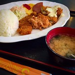 Special Lunch Okinawa style Flied chicken,Deep flied pork and fish,egg cake served with Miso soup and rice.