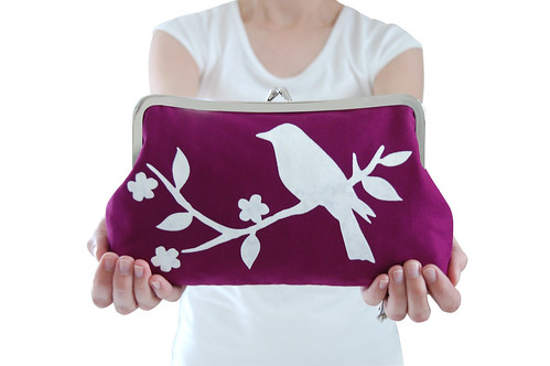Purple clutch purse with screen printed bird