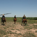July 11, 2014 - 13:35 - TDCJ-ID dogs assisting in search. Texas Ranger along on horseback assisting the dog Sgt. Credit: Bruce Scott, Dallam County Sheriff's Office