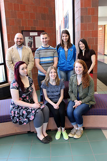 Thu, 04/16/2015 - 12:53 - Seated (l-r) Vice President Abby Wilcox, Distinguished Chapter Member nominee Emily Schirmer, and Rebecca Zielinski; Back row (l-r) Advisor Dr. Tom Priester, President Ryan Cooper, Mallori Andrews, and advisor Elise Banfield