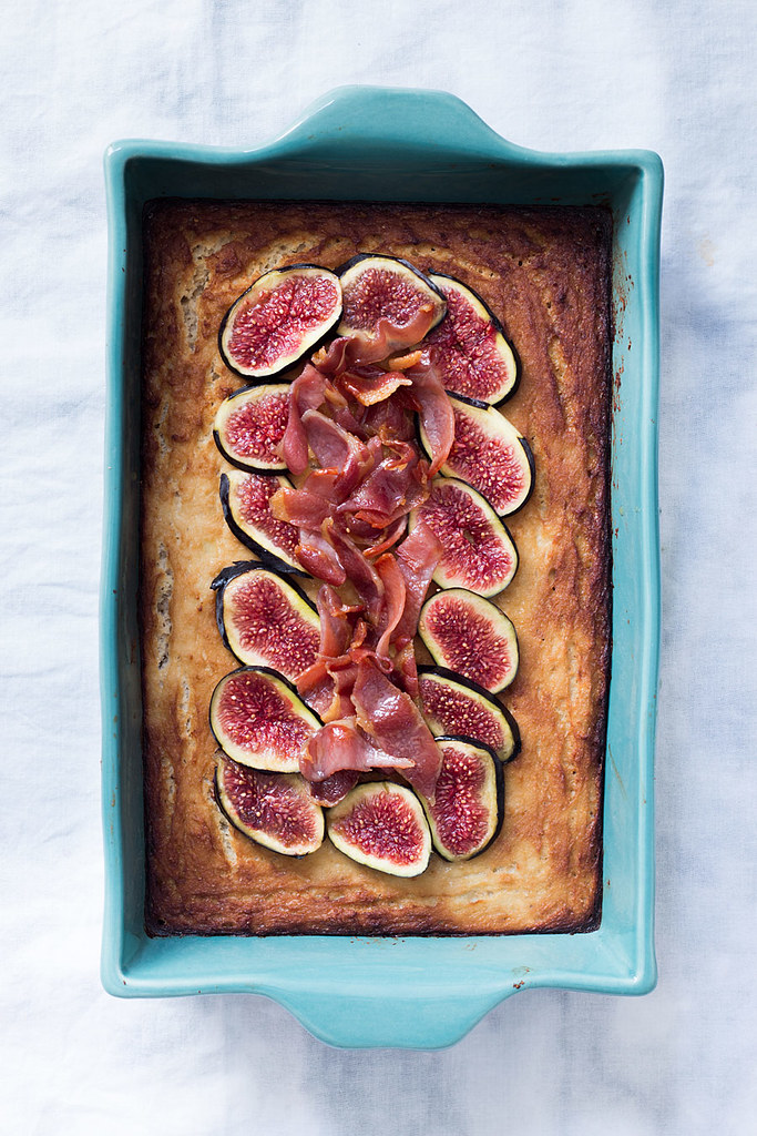 Cauliflower cake with maple-glazed bacon and figs | Lau Sunday cooks 13