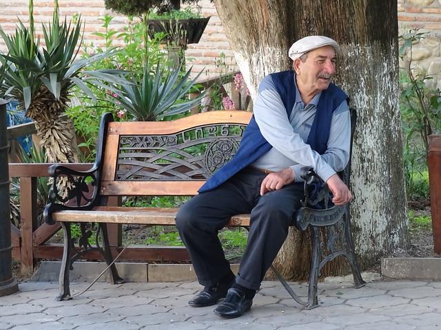 Elderly Man on Park Bench - Sighnaghi - Georgia