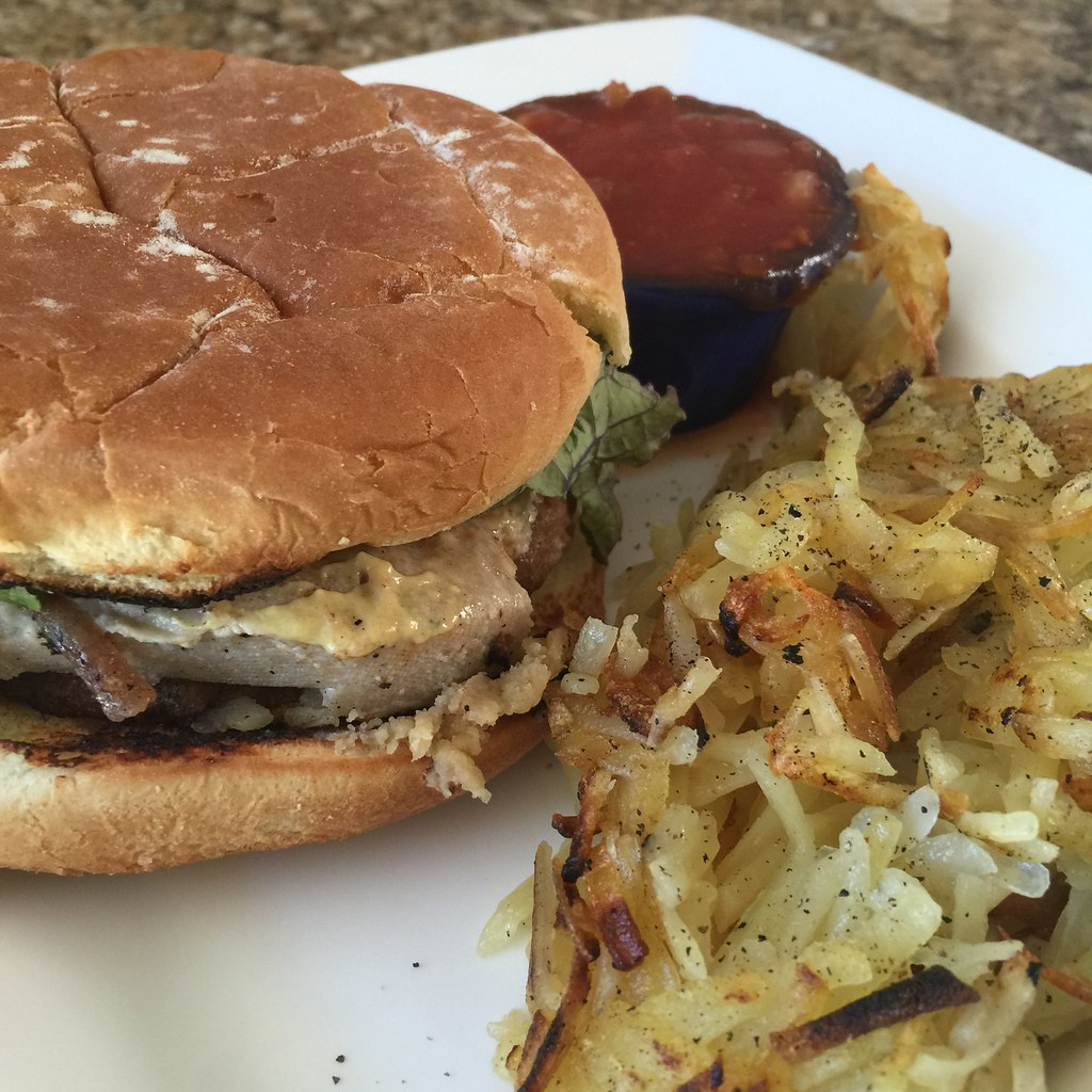 Rustic Alpine Veggie Burger with Hash Browns
