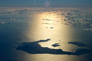 A View of Santorini, Greece, From Secretary Kerry's Plane as He Travels From Serbia to Cyprus