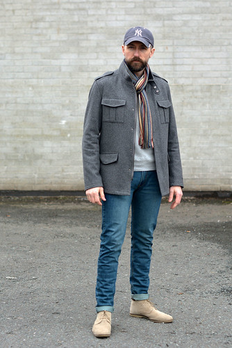 How to wear not-too-skinny skinny jeans: Grey wool jacket \ baseball cap \ striped scarf \ desert boots | Silver Londoner, over 40 menswear | by silverlondoner