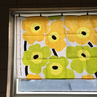 "I ""made"" a curtain for the bathroom window so the sun doesn't get in our eyes anymore! #marimekko tea towel from @camparisodas, tension rod, clips. It'll do! 