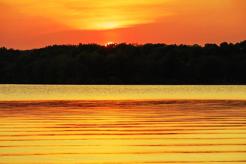 sunset orange lake color michigan sunsets michiganfavorites stonycreeklake