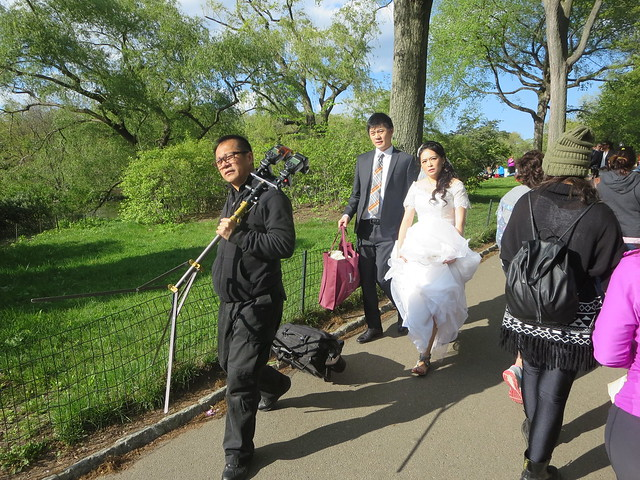 Groom and Bride Wedding Day photo shoot in the Bethesda Terrace and Fountain area of Central Park, New York City, Manhattan Island, USA