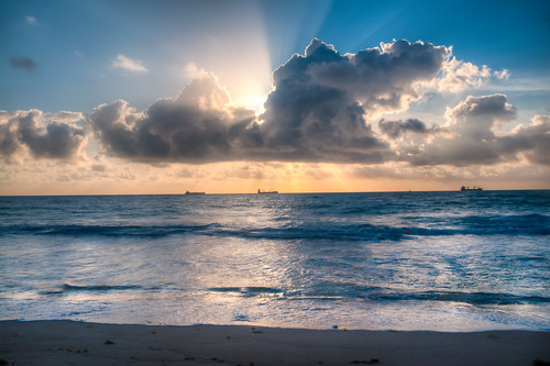 morning sea usa sun beach water clouds america nikon florida ships fortlauderdale hdr lasolasbeach