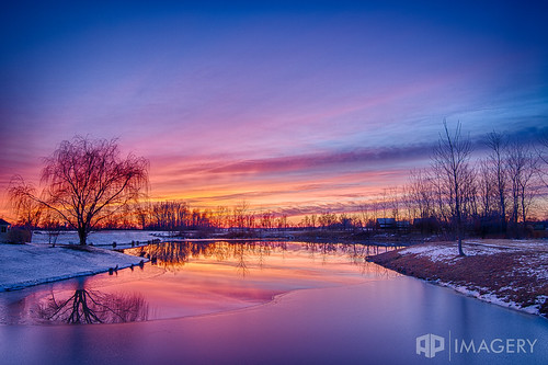 winter sunset lake reflection pond sorgho whisperingmeadows
