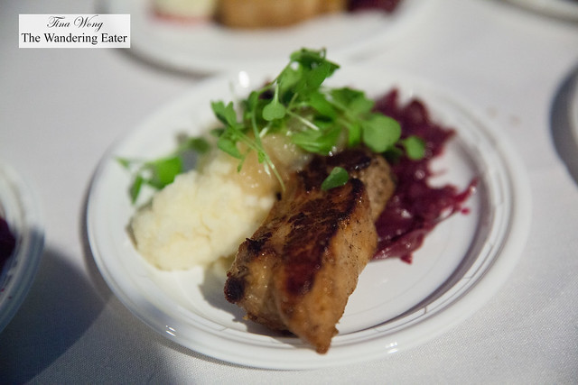 Roasted Heritage Duroc pork chop with garlic mashed potato, braised red cabbage