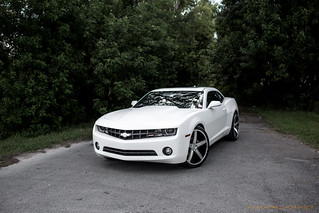 "Chevrolet Camaro Wrapped Satin White on 22"" CW-5 Matte Black Machined Face 