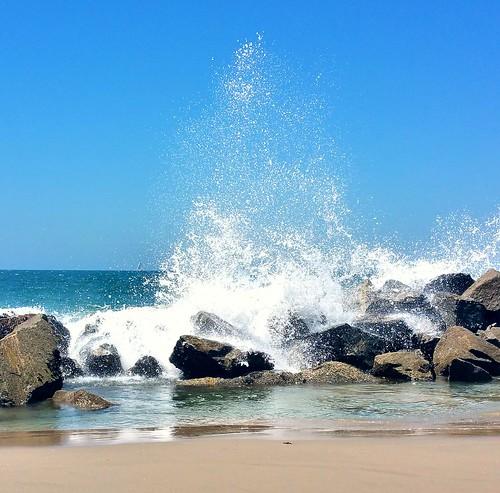 beach water sand rocks waves venicebeach spash breakwater breakingwaves santamonicabay waterpictorial joelach