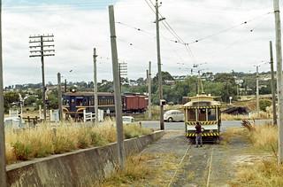 State Electricity Commission of Victoria single truck tram No 21 and Victoria Railways Rail Motor No 82 and trailer at North Bendigo, Victoria, Australia.