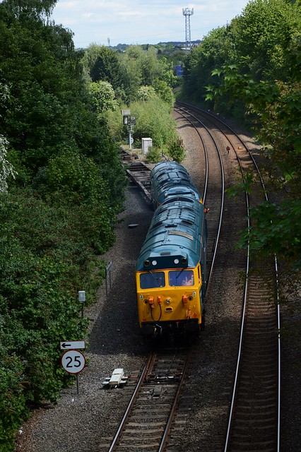 A classic Wellington scene of what was once Stafford Junction. but today was classic English Electric as the Hoovers come off the Donnington branch at Tin Bridge.. And this section of track is in my Parish.