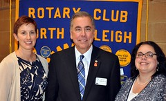 """L-R: Stephanie Lake, Club President Scott Tarkenton and Wake Tech Dean Tiffany Williams.  More about this at <a href=""""http://northraleighrotary.org/club-50th-anniversary-project-bridges-to-success/"""" rel=""""nofollow"""">northraleighrotary.org/club-50th-anniversary-project-brid...</a>  Photo Credit: Gene Hirsch"""