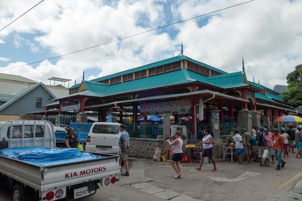 Vendors and produce, Sir Selwyn Clarke Market, Victoria, Seychelles