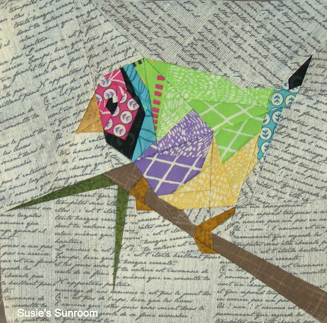Colored Finch     paper pieced pattern by QuiltArt Designs