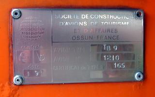 SOCATA TB-9 Tampico HS-TCI-04 dataplate CATC Bangkok 01Jul12