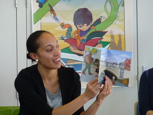 The author Kerri-Anna reads