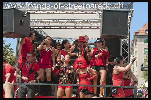 Friends of Street Parade in a Hot summer day.August 11, 2012. Zurich Street parade No.14:16:38.
