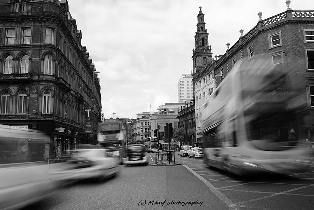 Traffic on Duncan street in Leeds.