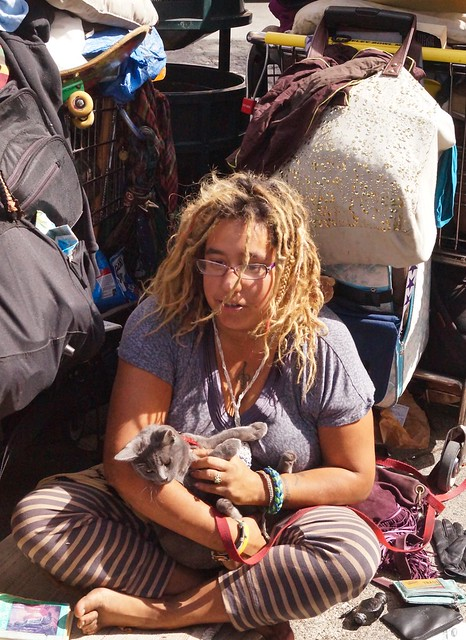 Homeless With Cats on Telegraph in Berkley,California