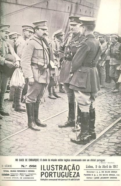Um oficial português com o chefe da missão militar inglesa, 1917 | ww1 | old magazine cover