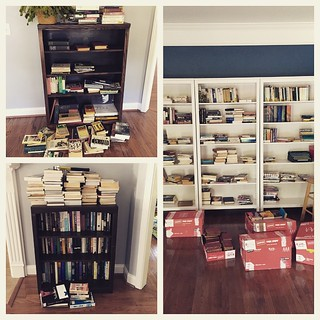 The great book organization project, halfway through. Consider this a PSA about what happens when two English professors get married. | by katolswick