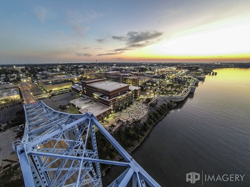 plaza bridge blue sunset downtown aerial glover cary ohioriver owensboro riverparkcenter smotherspark