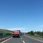 Caravan_pilot_zhangjiakou_road_blue sky_China