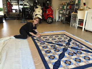 Basting my BIL's Quilt | by AnimatedLibrarian