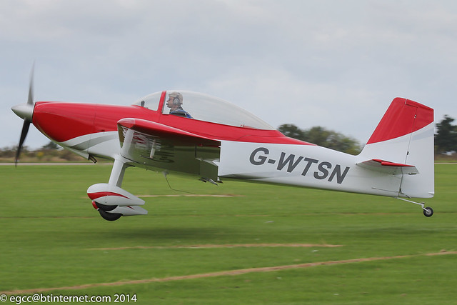 G-WTSN - 2014 build Vans RV-8, departing from Sywell during the 2014 LAA Rally