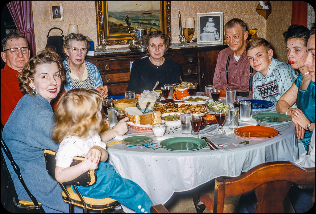 Family Dinner - Kodachrome Slide - 1950s