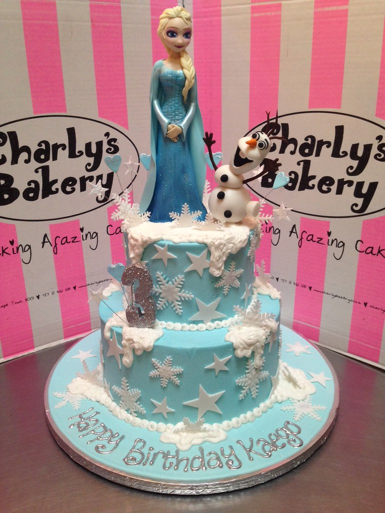 With 2 Tier Frozen Themed 3rd Birthday Cake 3D Elsa And Olaf Figurines