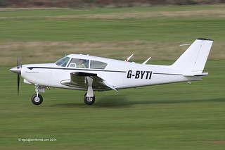 G-BYTI - 1963 build Piper PA-24-250 Comanche, arriving on Runway 27L at Barton
