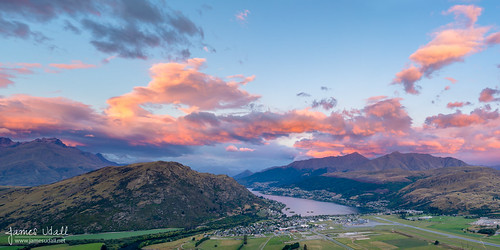 newzealand sky mountains clouds sunrise landscape airport cityscape farmland otago queenstown farms overlook pinksky remarkables overview lakewakatipu theremarkables frankton