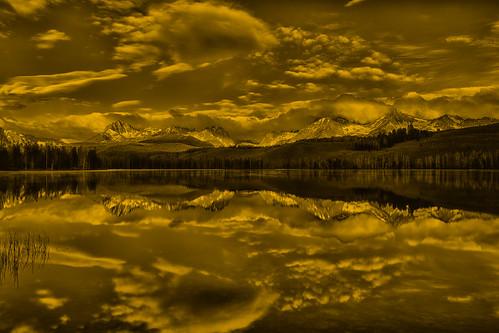 sepia sunrise reflections idaho explore stanley sawtooths sawtoothmountains sepiatones