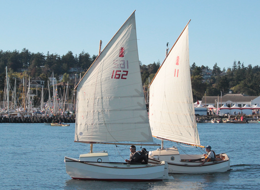 IMG_2655CE1 - Port Townsend WA - 2015 Wooden Boat Festival - SCAMP-162 LUNA (left) and SCAMP-11 NODDY passing the Festival southbound