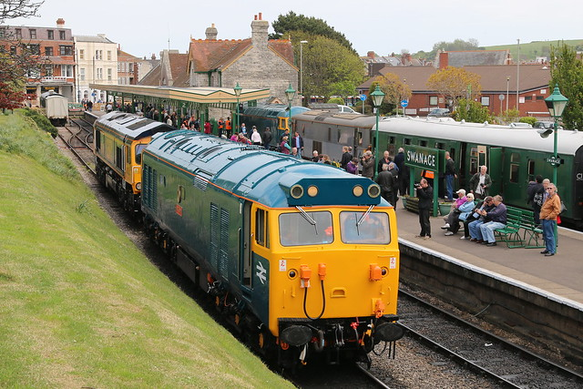 50035 'Ark Royal' stabled at Swanage, during the Rail Gala, 10 May 2015. Behind is 66741, named 'Swanage Railway' earlier in the week. 56006 and 73107 are in the bay platform.