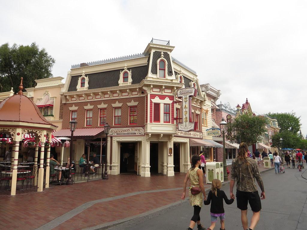 Carnation Cafe, Sleeping Beauty Castle from Main Street, U.S.A., Disneyland, Anaheim, California