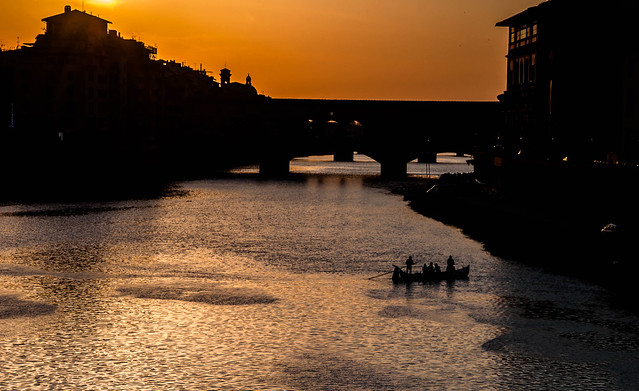 Crossing the Arno in the early evening